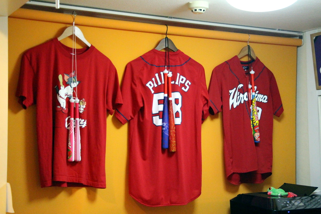 Hiroshima: Hiroshima was the first city that had a lot of baseball merchandise and paraphernalia. These Hiroshima Toyo Carp jerseys were hanging in our hostel.