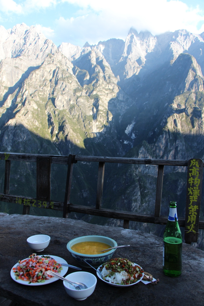 Our dinner and view from the mountain side guesthouse in which we spent the night