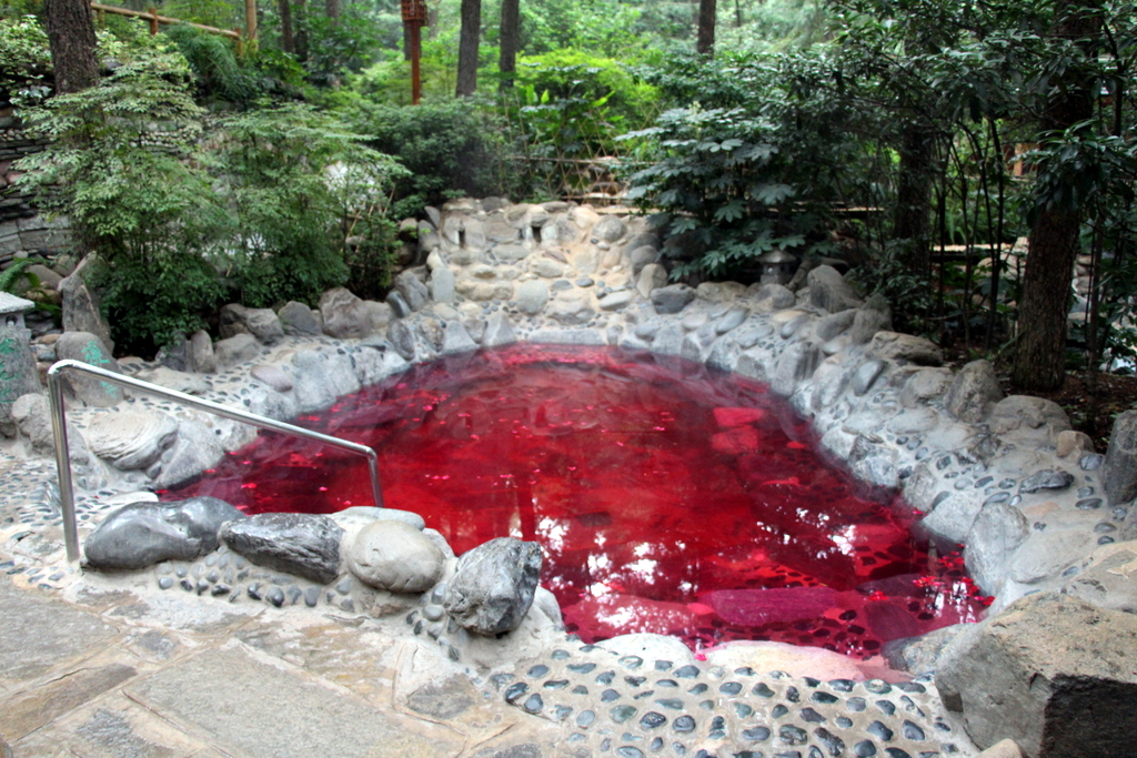 The first pink pool was rose-scented, and there were flower petals floating in the water
