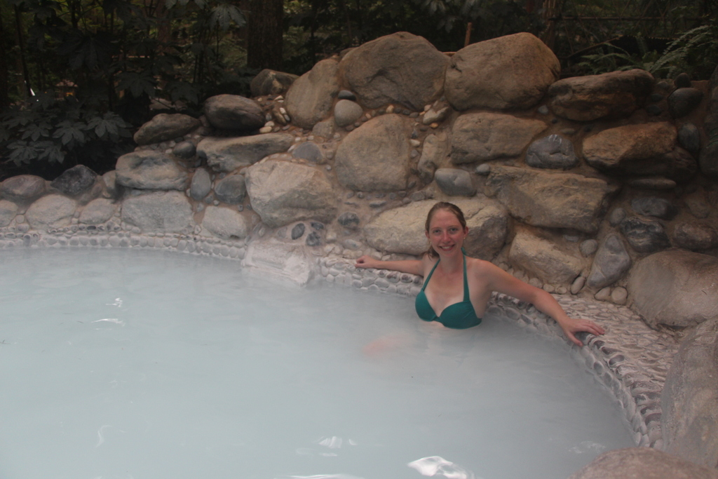 Though a bit strange looking, the white pool was our favorite as it was scented with coconut milk