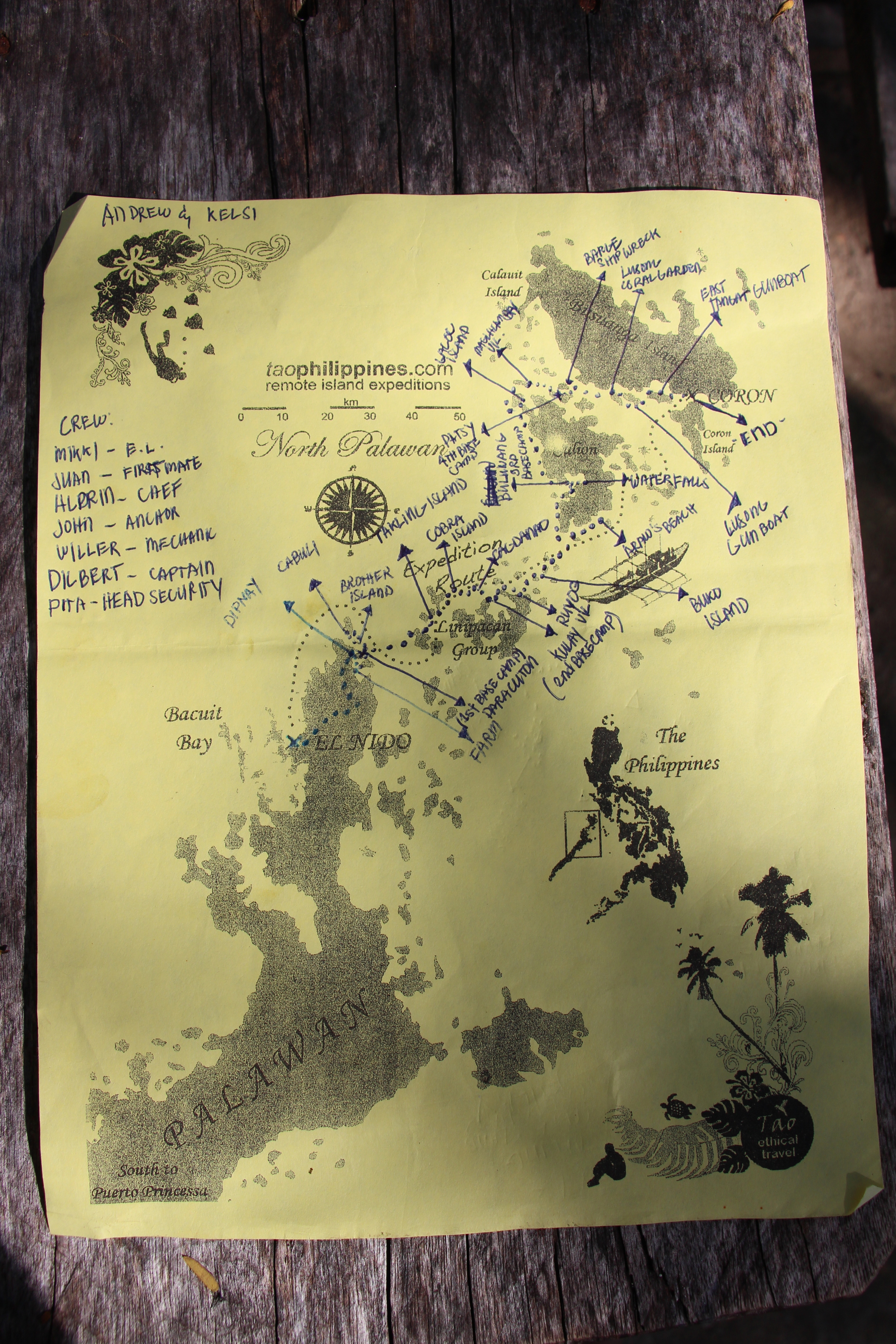 At end of our trip, our Expedition Leader Miki made us a map of the islands we visited (Click to enlarge)