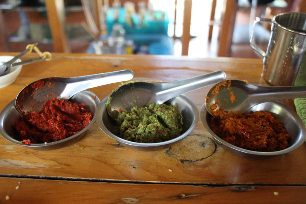 It takes muscle and patience to pound out a good curry paste!