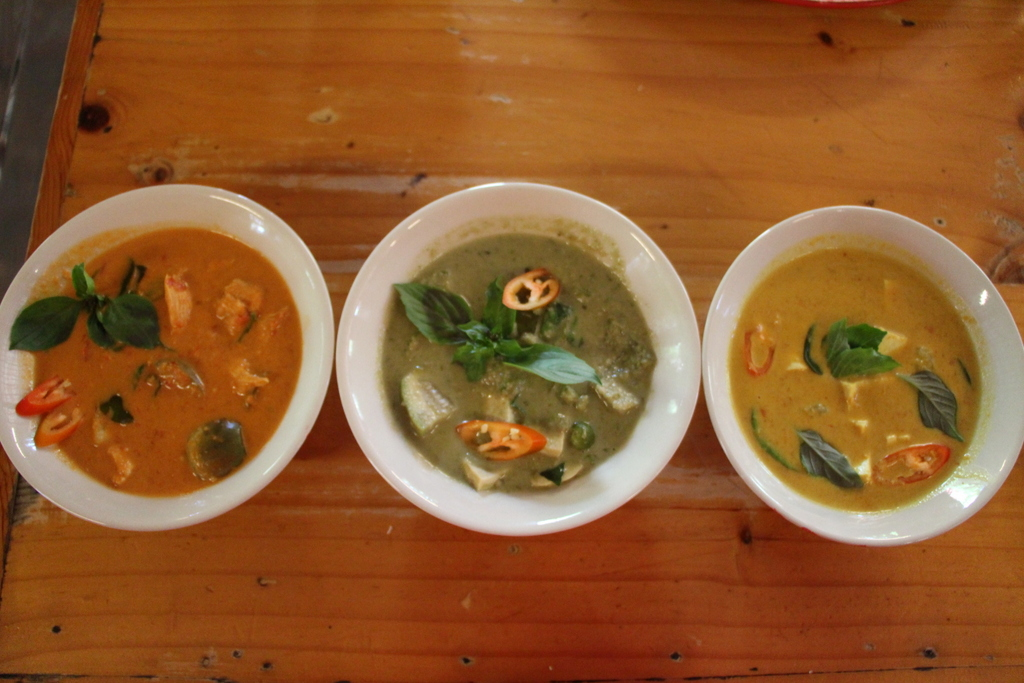 Voila! Finished curry with added Thai basil for garnish.