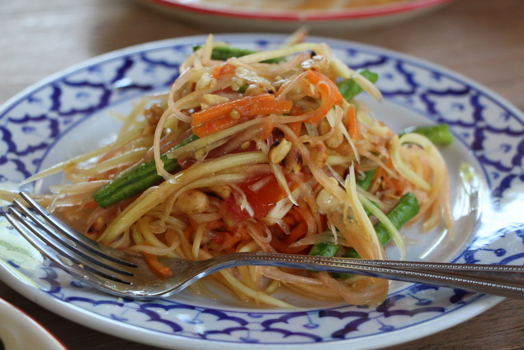 Sum tam is Thailand's famous green papaya salad. It's like a spicy, limey coleslaw topped with peanuts. Delicious!