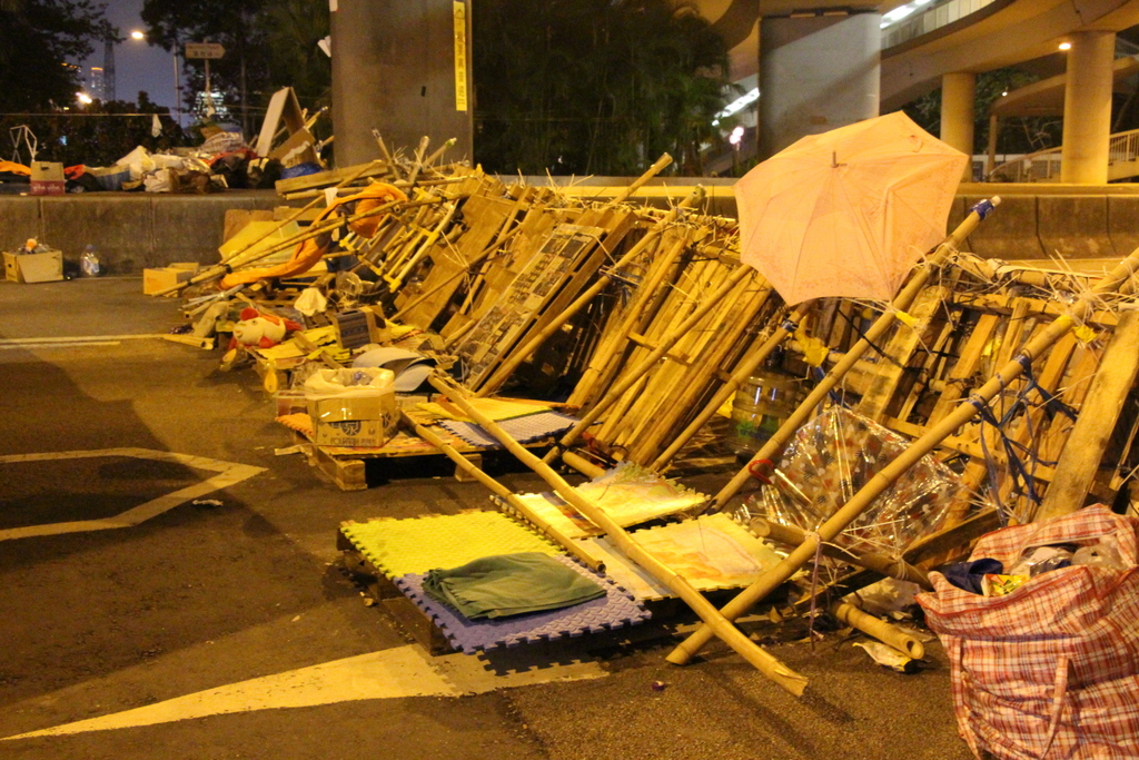 One of the barricades on the highway that marks the beginning of Occupy territory