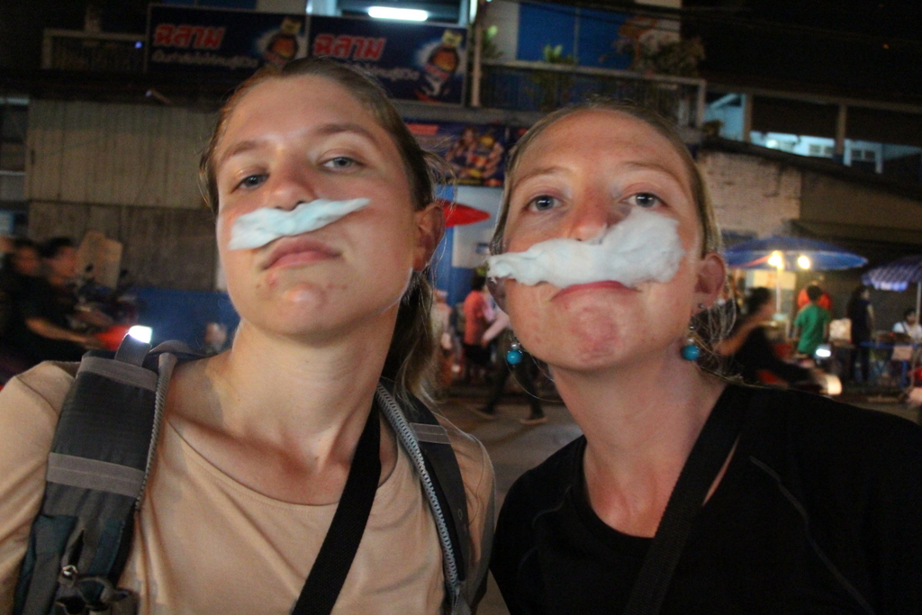 Who says Movember is only for dudes? Kim and I showing how to eat cotton candy like a bawse.