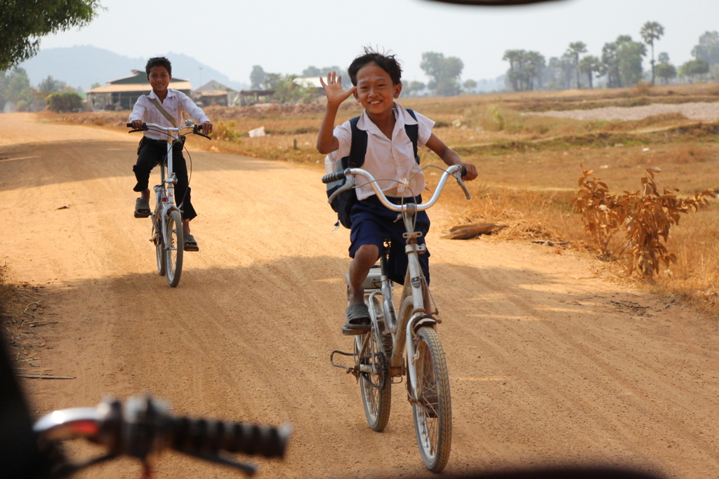 In most of the countries we have visited children wear school uniforms, like these children in rural Cambodia