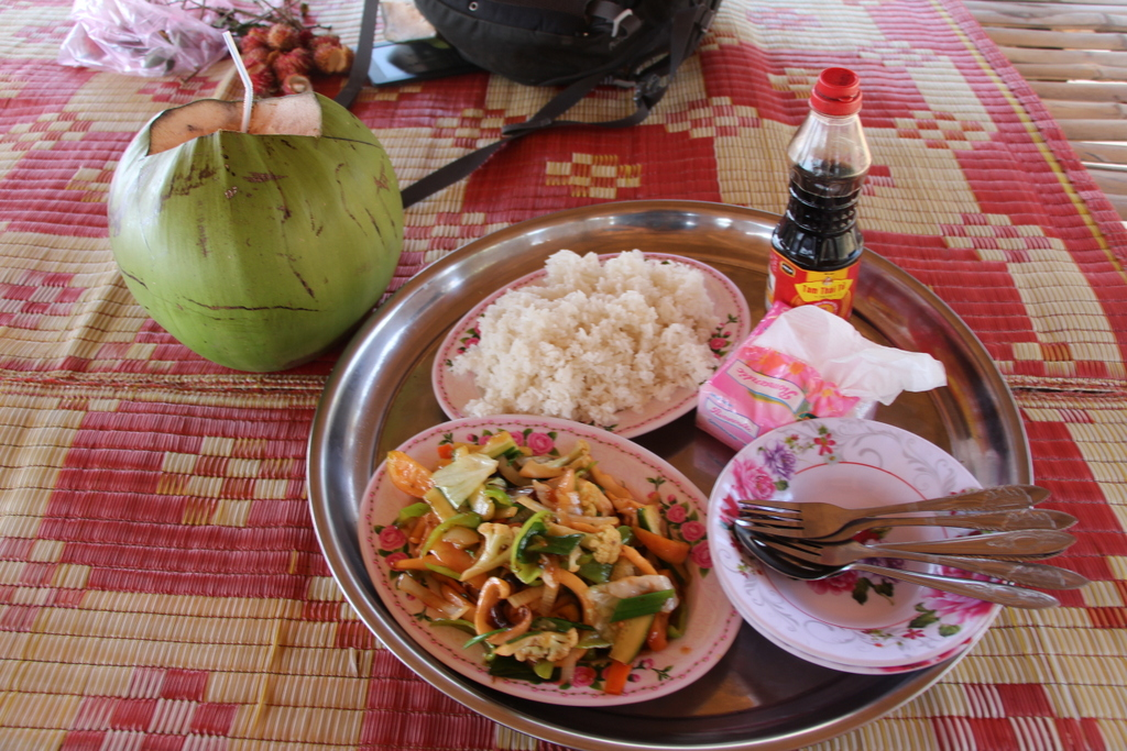 "This scrumptious lunch of stir fried squid and vegetables, plus rice, and some coconut water for me came to about $7 - a ""tourist price."""