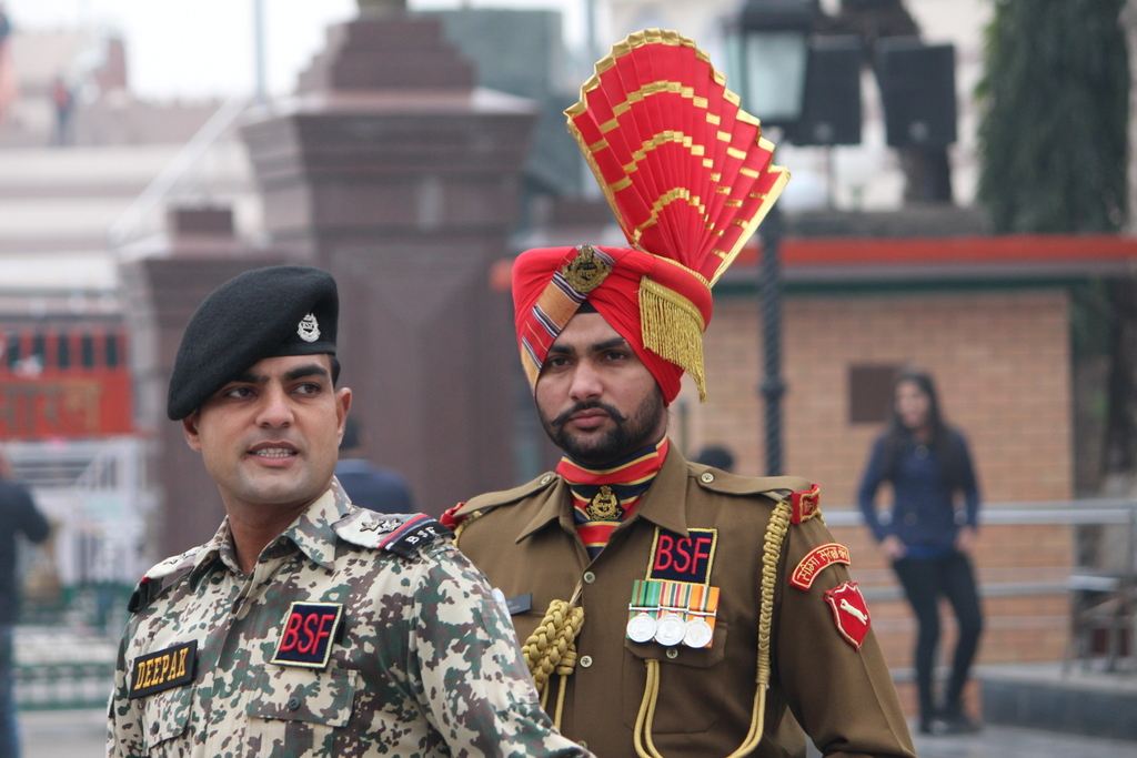 Two members of the Border Security Force before the ceremony. Those hats mean business.