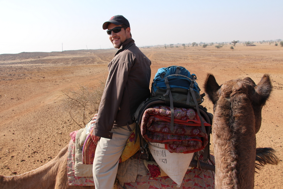 We rode camels into the Thar Desert outside of Jaisalmer, India, and spent a night in the desert