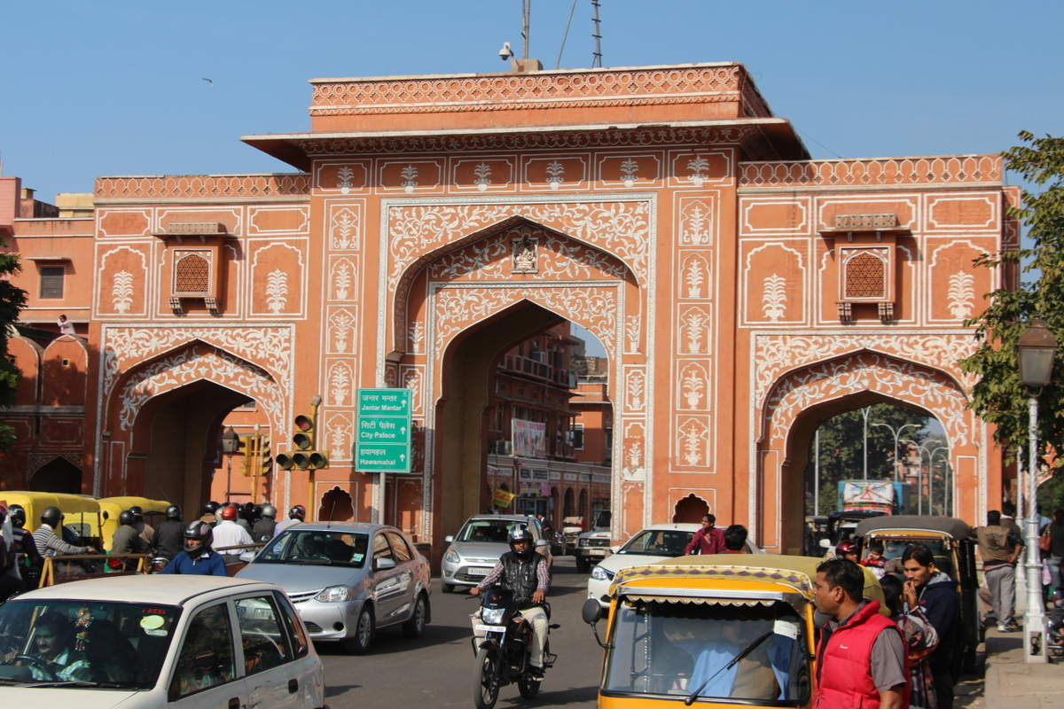 One of the gates to the Pink City in Jaipur