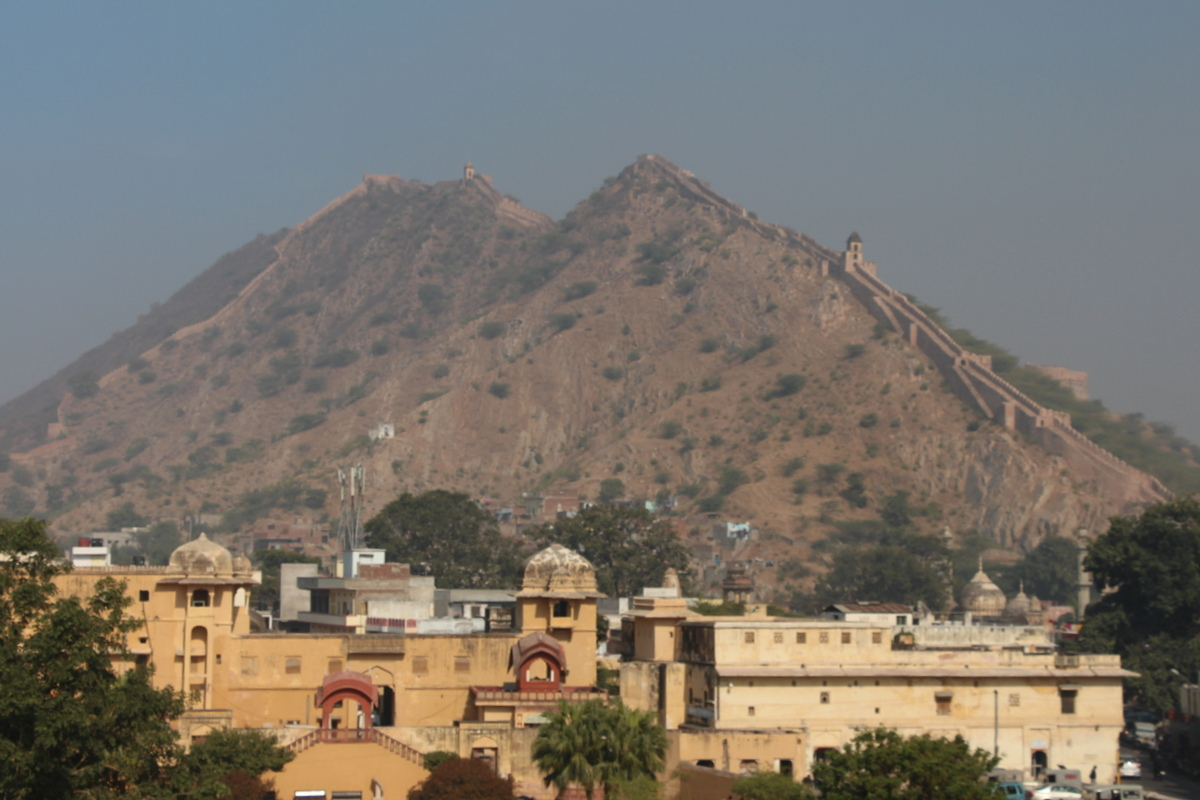 The maharaja who built Jaipur fort once went to China and was impressed by the Great Wall. He made sure that his fort complex was accompanied by a wall of his own.
