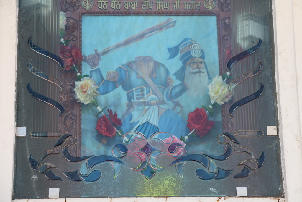 A Sikh warrior-saint depicted at a monument in the complex.