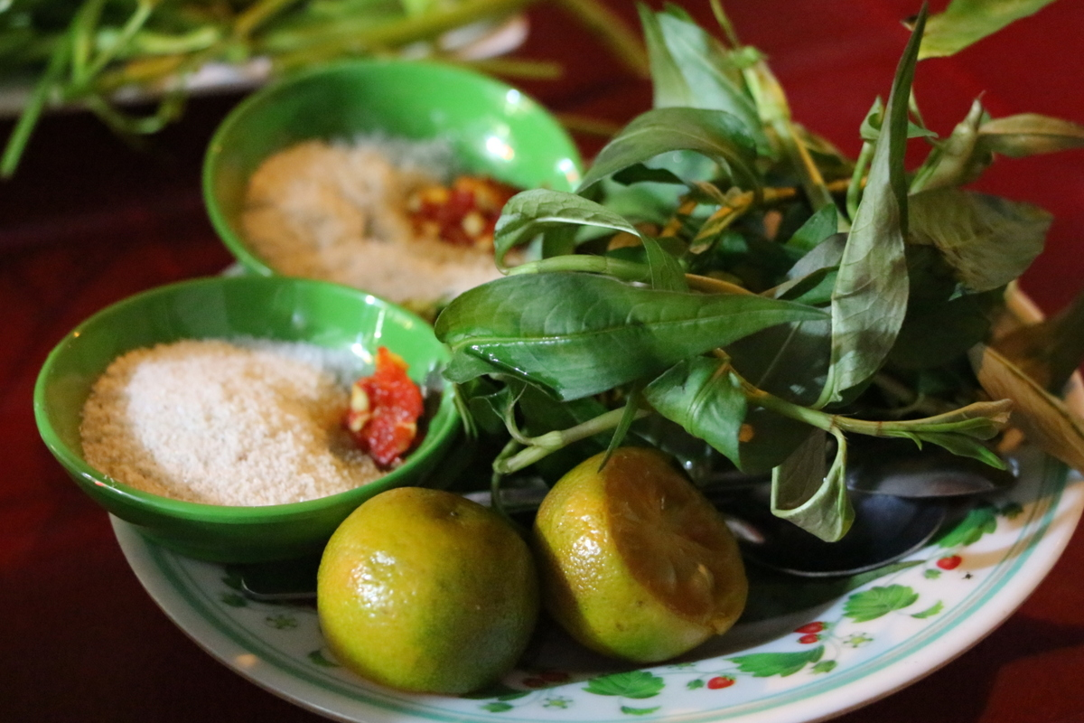 Condiments for the seafood- a sugar/salt mixture with chili, calamansi limes, and herbs. Yes please!