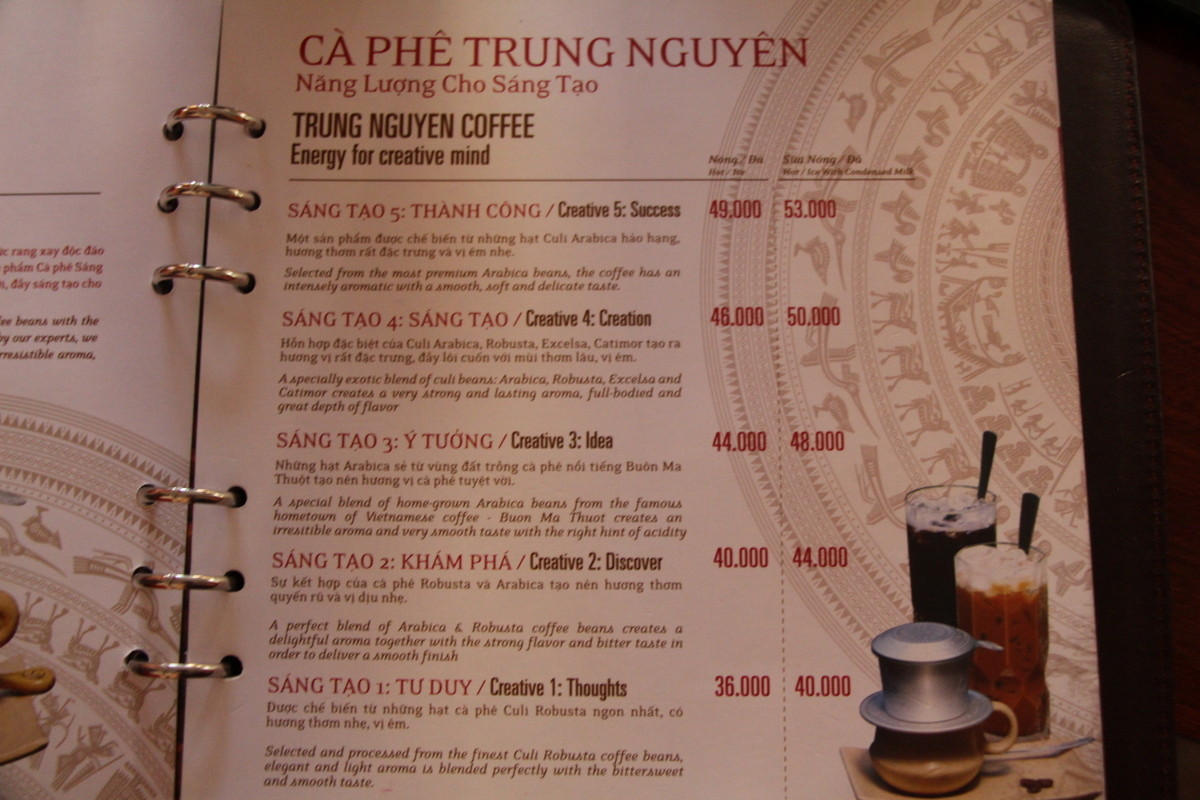 For reference, $1 is about 22,500 Vietnamese Dong, making these coffees about $2 hot and slightly more over ice.