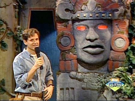 Kirk Fogg and Olmec, the talking temple god, from Legends of the Hidden Temple. Nickelodeon has only gone downhill from here.