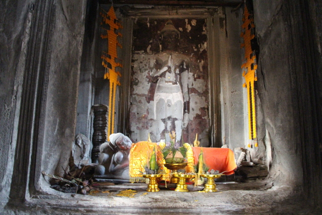 Buddhist statues placed into the Angkor Wat central temple.