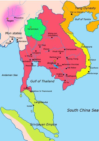 Extend of the Khmer Empire around 900 CE.http://en.wikipedia.org/wiki/Khmer_Empire