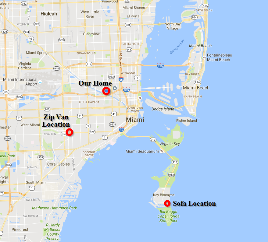 Note how our sofa lived in the exclusive Key Biscayne community off the mainland from Miami