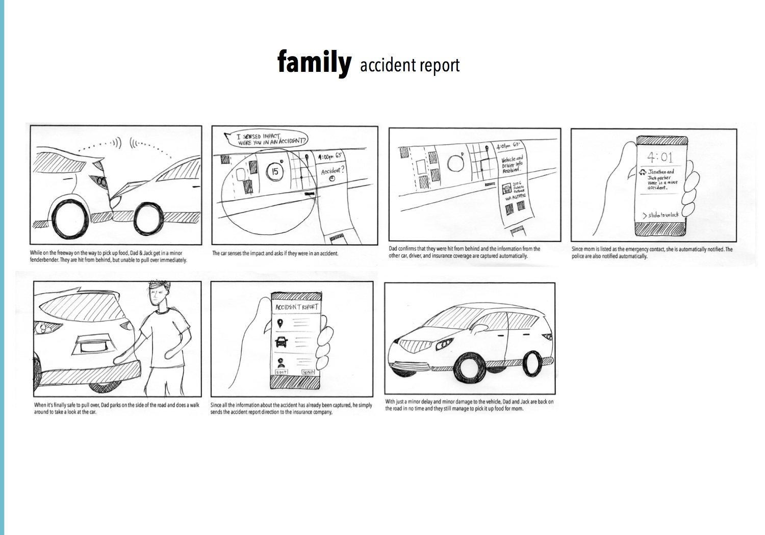 Storyboard for family car accident scenario