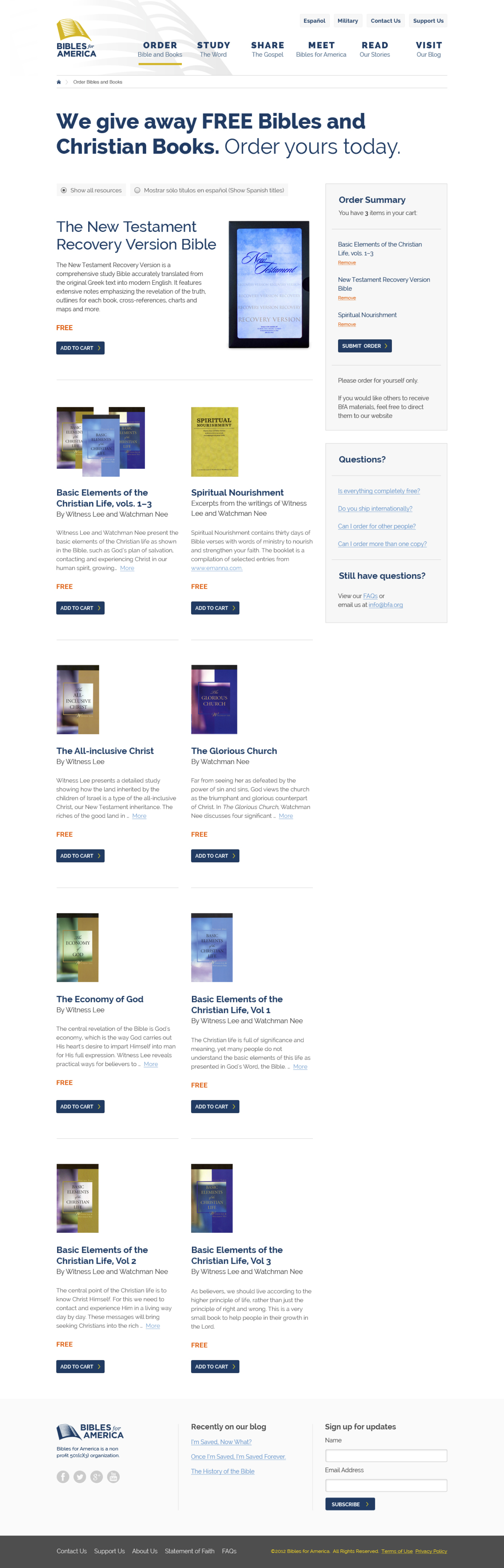 Book store page visual design by Churchmedia