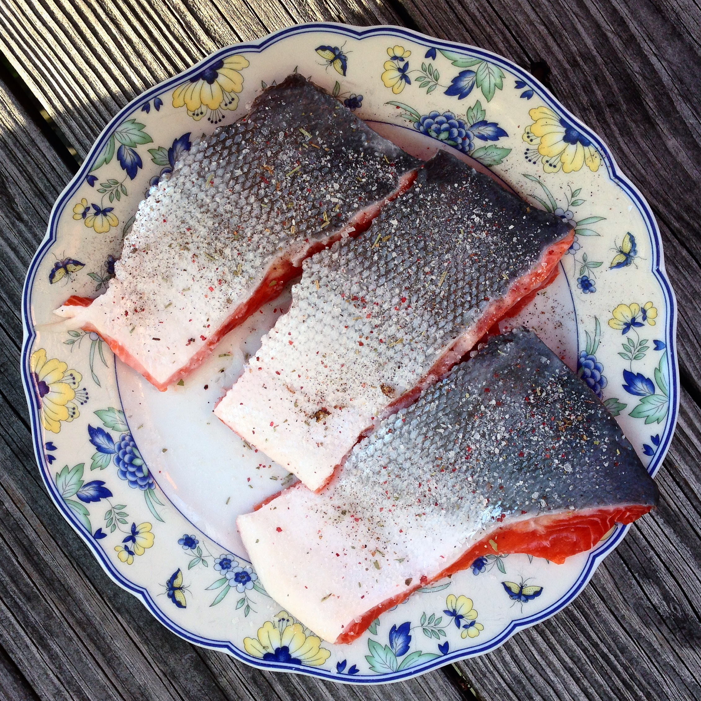 Wild Caught Alaskan Sockeye Salmon prepped with organic coconut oil and sea salt with spices