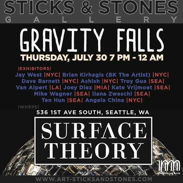 this thursday. seattle. 7-midnight. @gallerysticksandstones. artworks by myself @bktheartist @jaywestart @gumshoeart @ilovehash and more. if you are in the northwest be sure not to miss it!