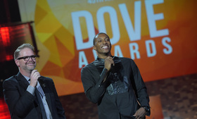 MercyMe's Bart Millard hosting the 45th Annual GMA Dove Awards with Lecrae                                                          (Photo Credit:    Rick Diamond and Terry Wyatt of    Getty Images)
