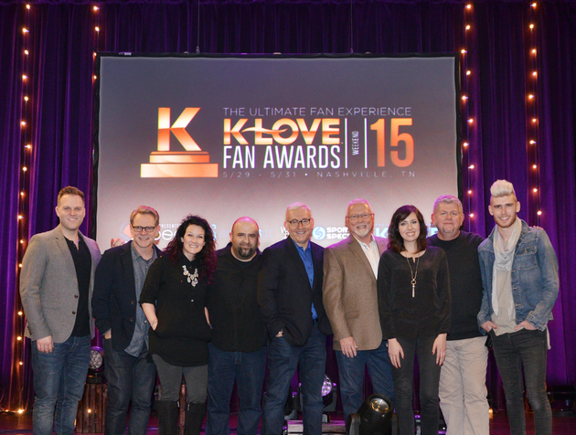 From L to R: Matthew West, Steven Curtis Chapman, Plumb, John Sanders (K-LOVE Fan Awards Co-Creator and Producer), Jon Klein (TAPP Co-Founder and CEO), Mike Novak (K-LOVE President and CEO), Francesca Battistelli, David Pierce (K-LOVE CCO) and Colton Dixon.    Photo Credit: Aaron Crisler for The Media Collective