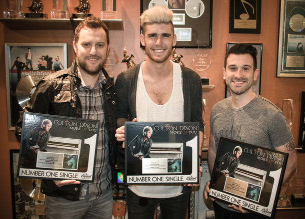 Pictured (L-R): Writer Ben Glover, Colton Dixon and Producer David Garcia