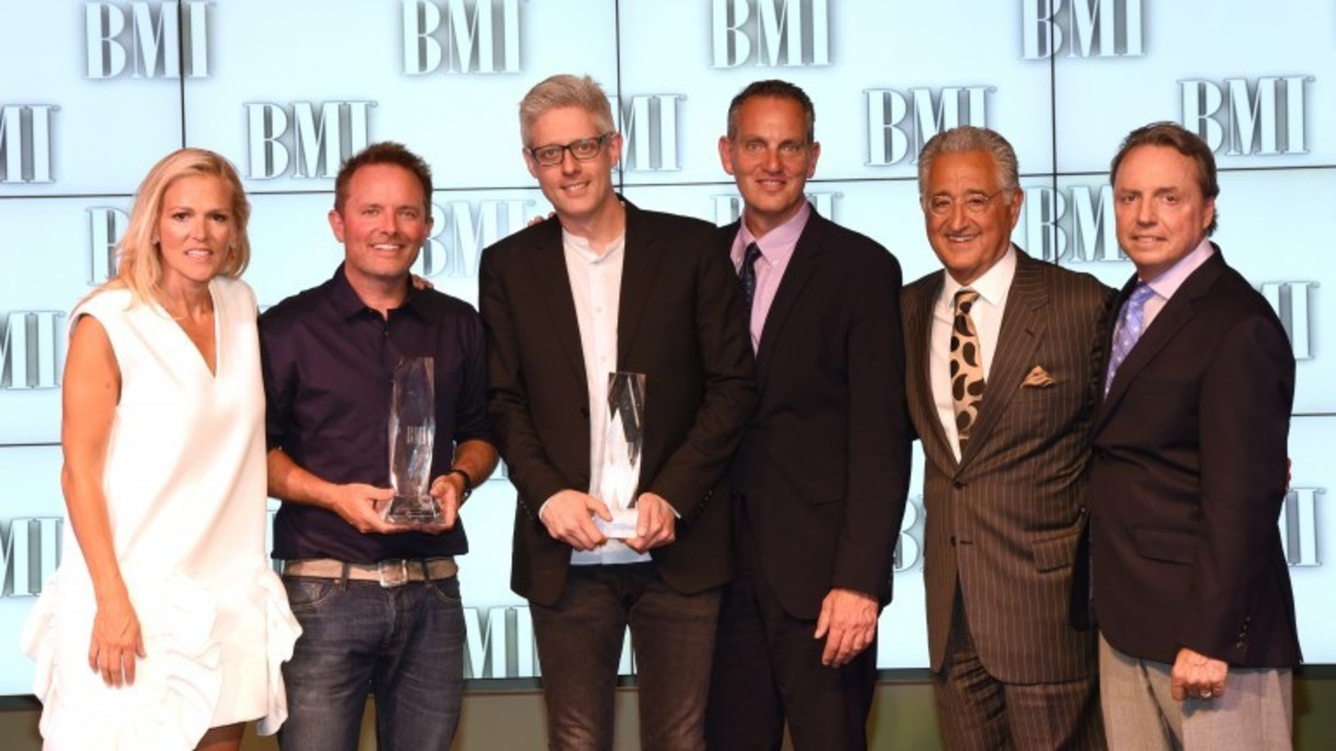 BMI's Leslie Roberts, BMI Songwriters of the Year Chris Tomlin and Matt Maher, BMI's Mike O'Neill, Del Bryant and BMI's Jody William at the 2016 BMI Christian Awards   Photo: Steve Lowry