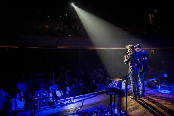 Dennis Quaid & Bart Millard at The Ryman Auditorium, Mar. 4, 2018. Credit: Brody Harper