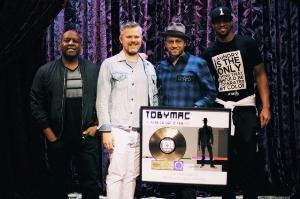 "TobyMac with DJ Maj, Dave ""D-Dub"" Wyatt and Brian ""B."" Haley of the DiverseCity Band. Credit: Trent Nicholson"