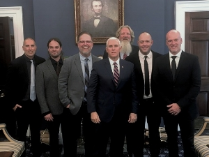 5X GRAMMY® Nominees MercyMe with manager Scott Brickell & Vice President Mike Pence as the Music Modernization Act is signed on Oct. 11, 2018.