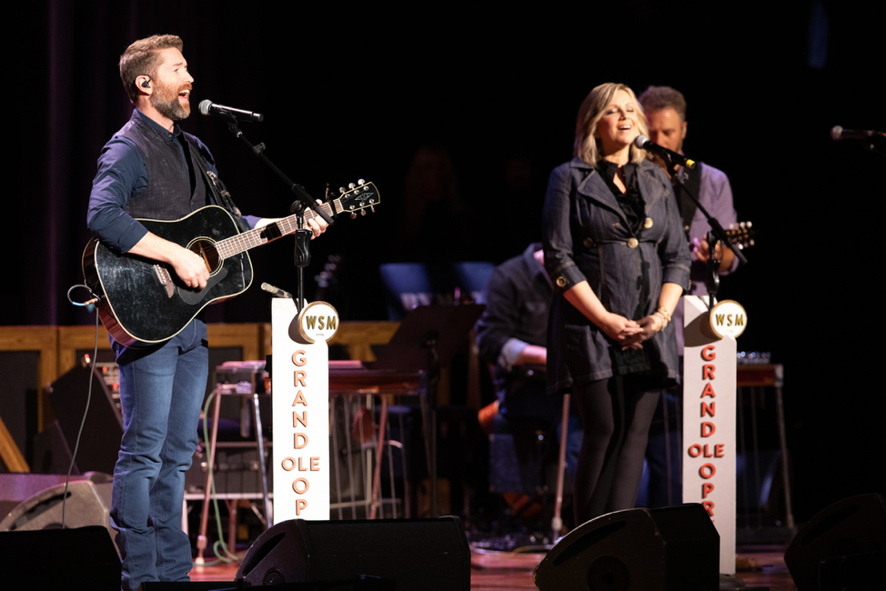 From L to R: Josh Turner with Sonya Issacs  Photo courtesy Grand Ole Opry LLC. Chris Hollo, photographer