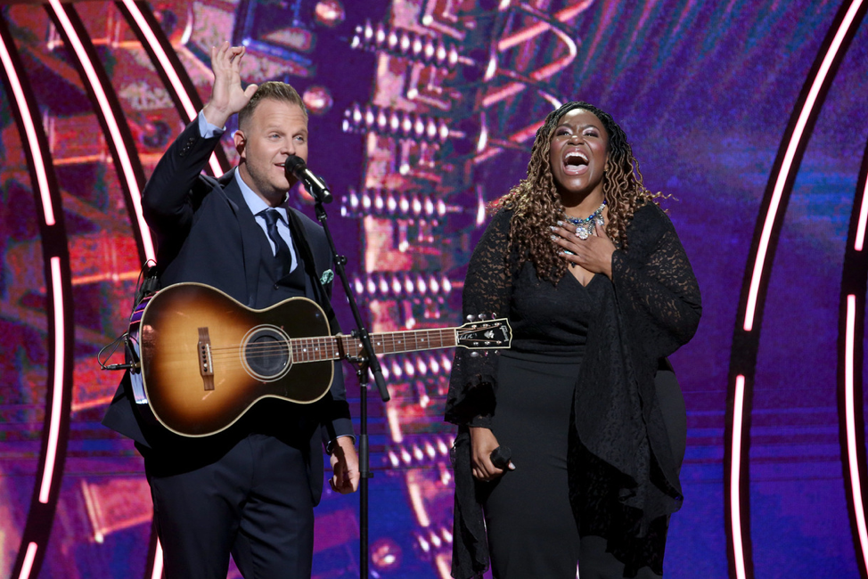 Co-hosts Matthew West and Mandisa. Credit - Getty Images for K-LOVE Fan Awards