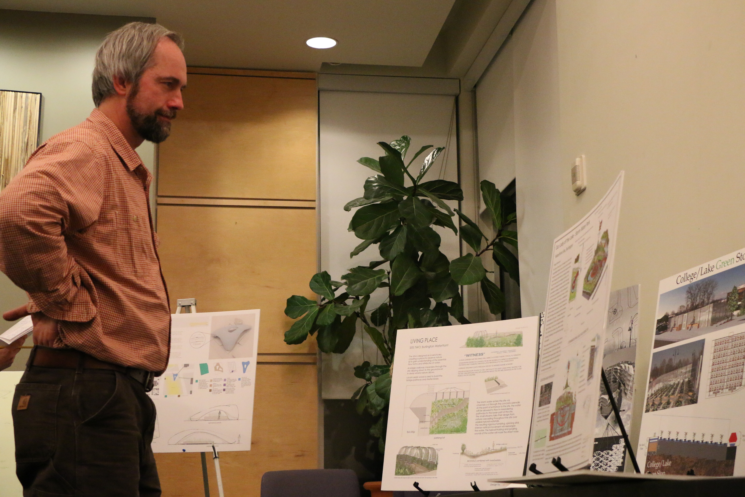Walter Poleman reviewing projects for the  Living Place Design Competition   at UVM.