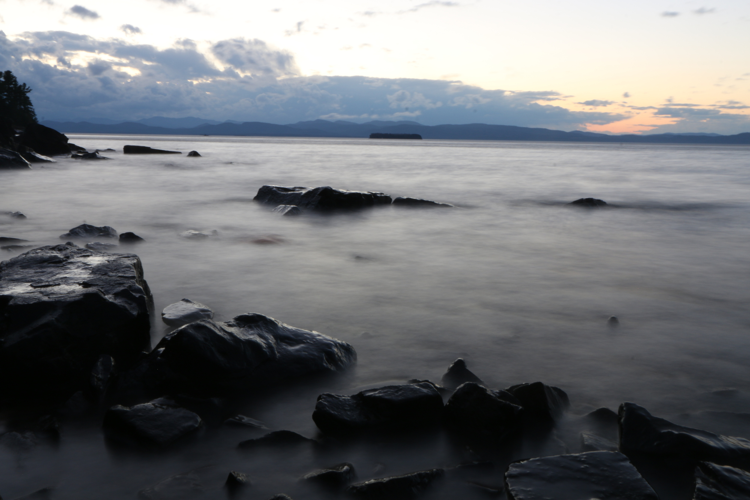 mist over lake champlain