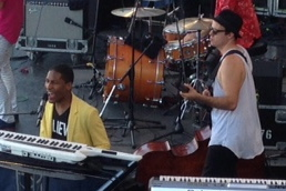 Jon Batiste and Michael Thurber playing at the Newport Jazz Festival, 2015