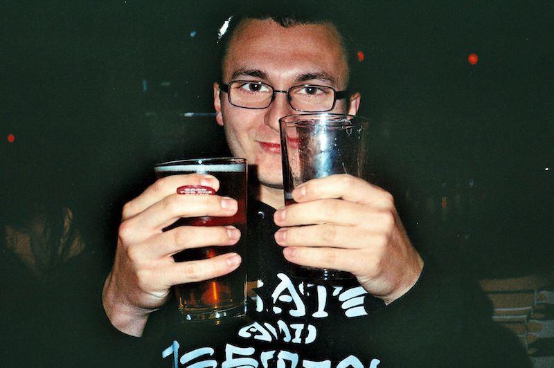 Videographer Tom Gorelik enjoying multiple bevs, most likely at Bar Matchless.