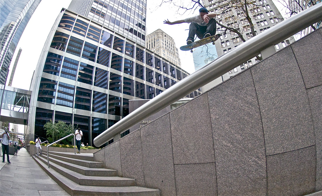 As gnarly as it gets. Jan does a pop shove-it at Minneapolis's One Financial, as seen in  Debris , 2012. Photo:  Dan Huseby