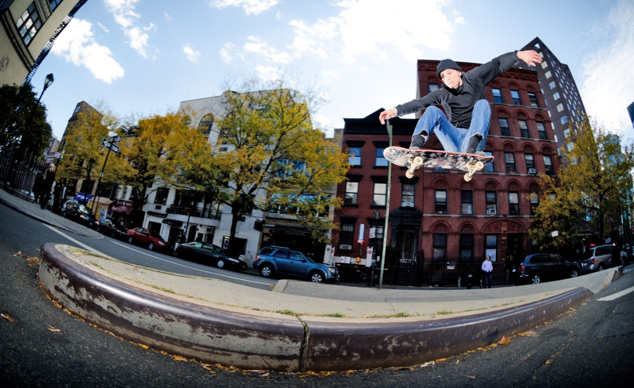 A solid snap out of a curb cut is as classic as it gets. Ben has style and power. Photo:  Kyle Seidler