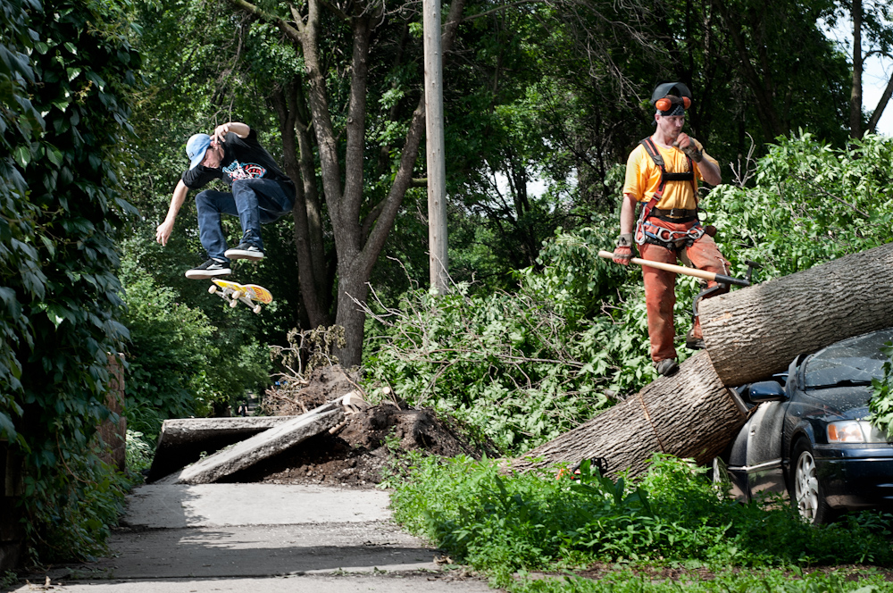 A silver lining of natural disasters. Tornado heelflip. Photo:  Alex Uncapher