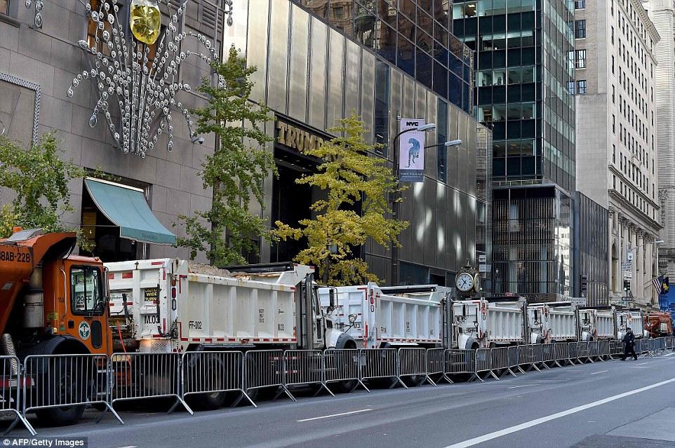 Barricade around Trump Tower. Manhattan.