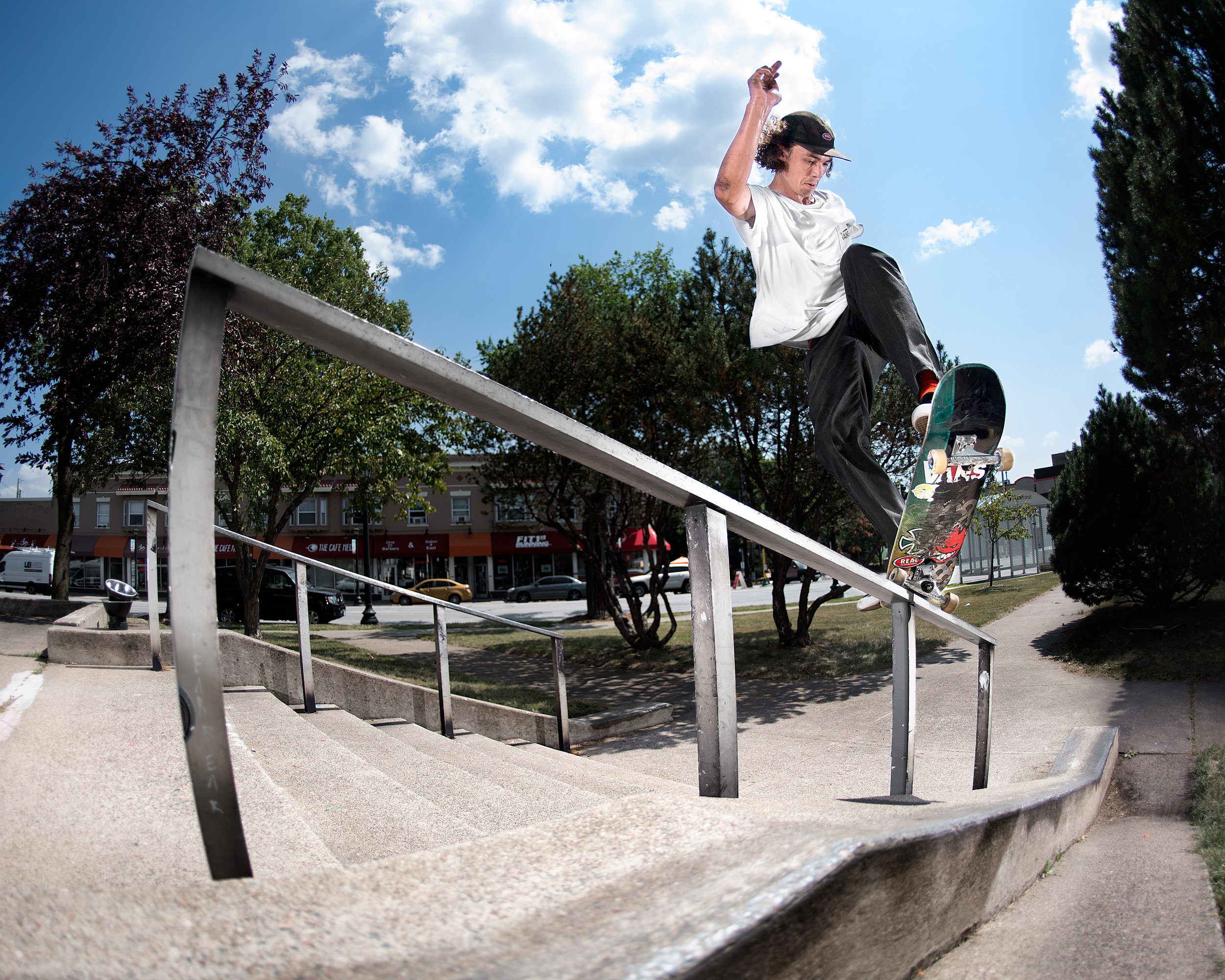 Backside 180 to fakie 5-0.