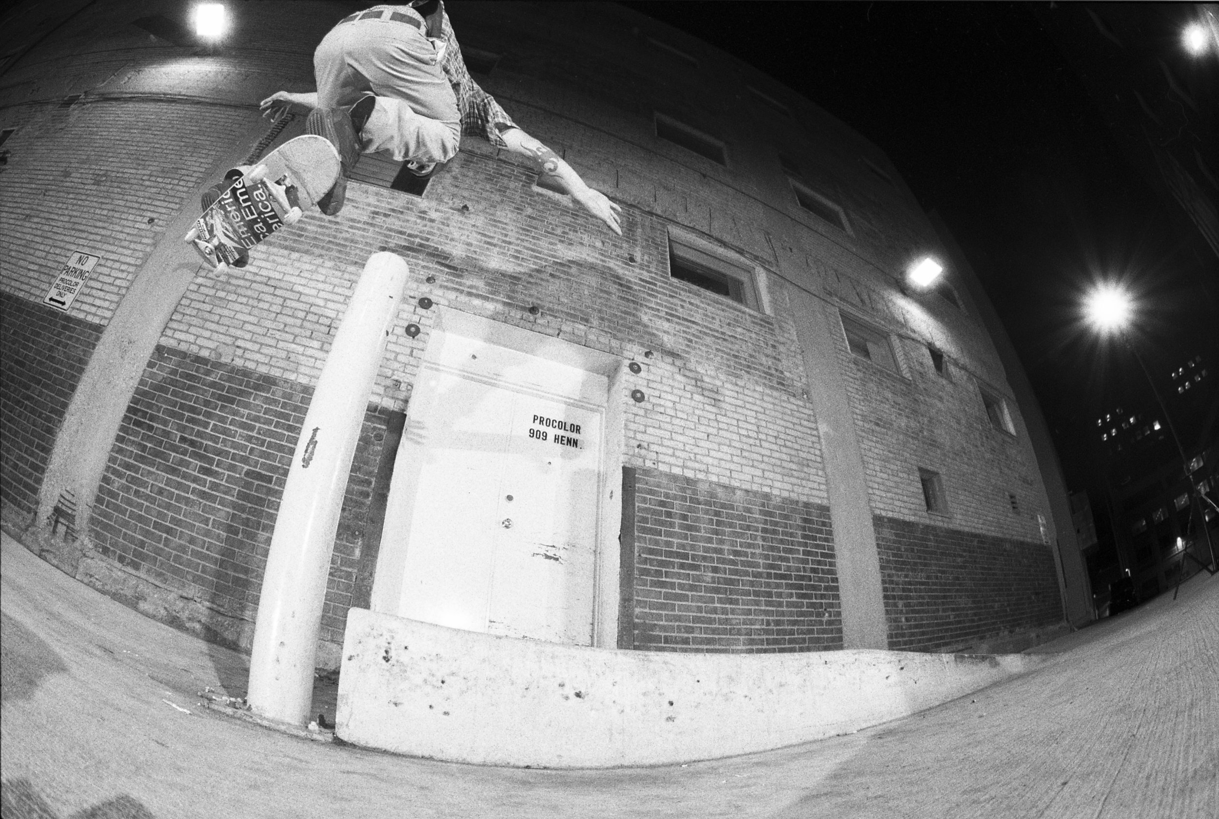 We used to skate off the side of this bump. I remember someone saying Steve Nesser went over the pole and I was convinced I was being lied to – apparently not. Backside 180.
