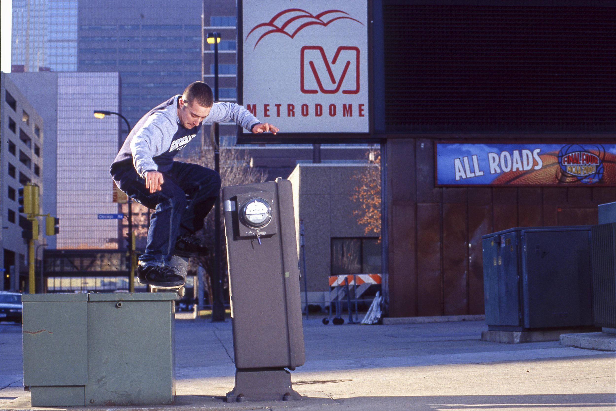 Not sure if anyone skated this spot before or after this went down. Elijah Collard backside nosegrind.