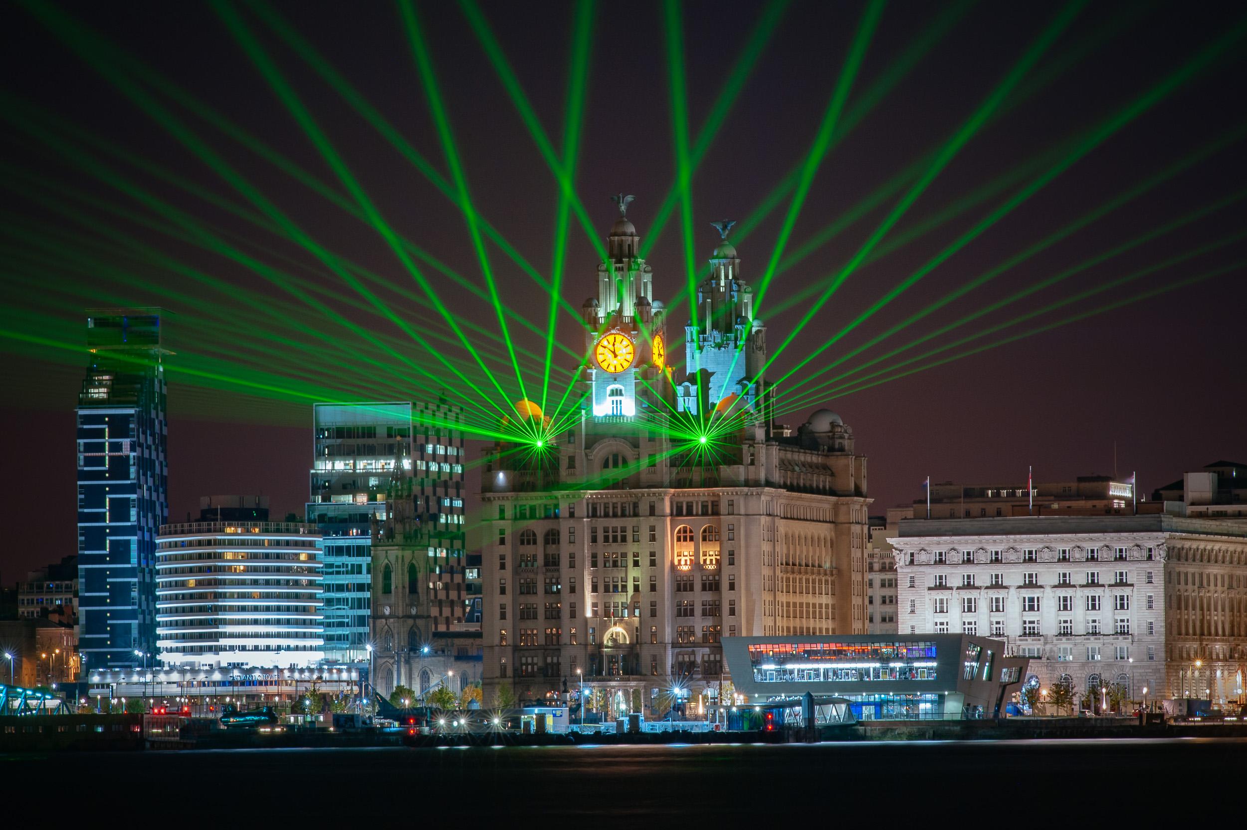 Laser Lightshow at the Liver Building