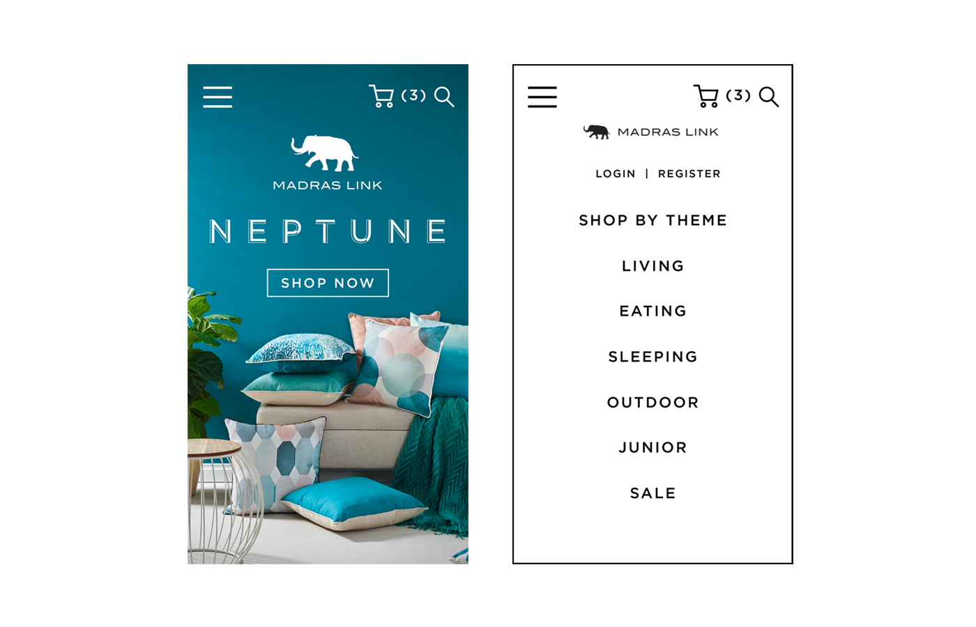 The mobile version includes a slide menu function as well as quick access to the shopping cart and search function.