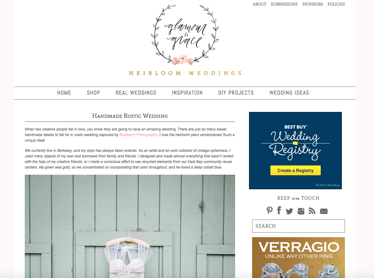 Blueberry Photography | Featured on Glamour and Grace Wedding Blog